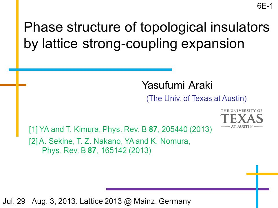 Phase structure of topological insulators by lattice strong-coupling expansion Yasufumi Araki (The Univ.