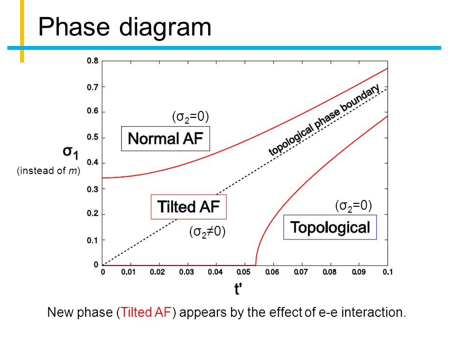 Phase diagram (σ 2 ≠0) (σ 2 =0) New phase (Tilted AF) appears by the effect of e-e interaction.