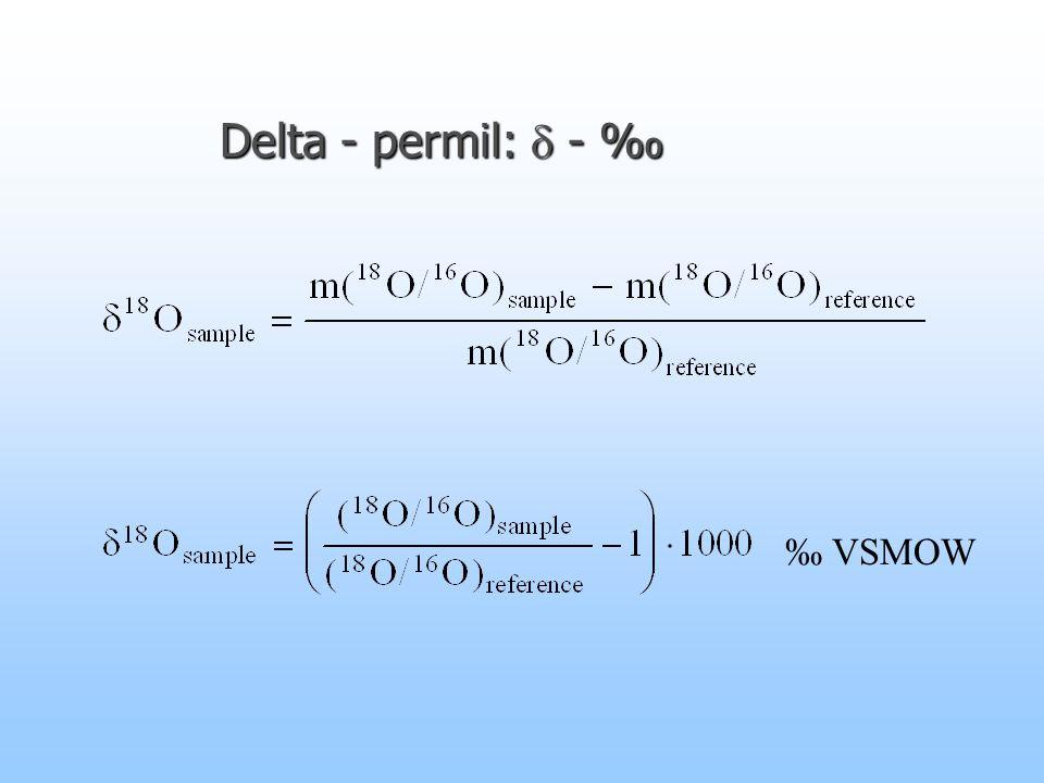 Delta - permil:  - ‰ ‰ VSMOW