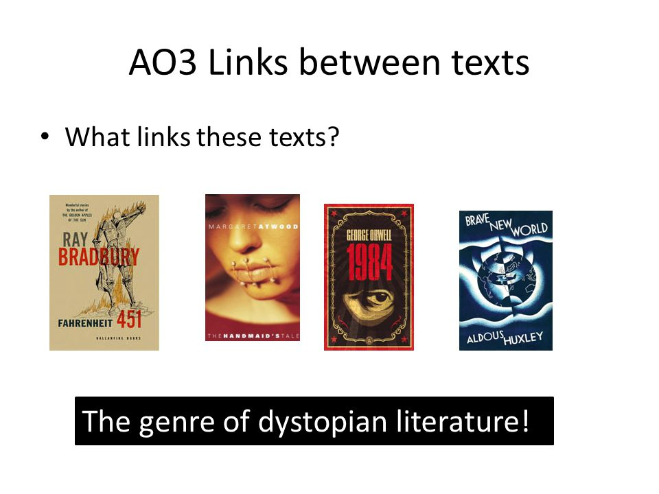 AO3 Links between texts What links these texts The genre of dystopian literature!