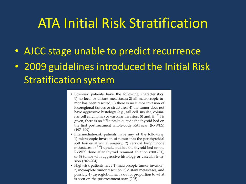 ATA Initial Risk Stratification AJCC stage unable to predict recurrence 2009 guidelines introduced the Initial Risk Stratification system