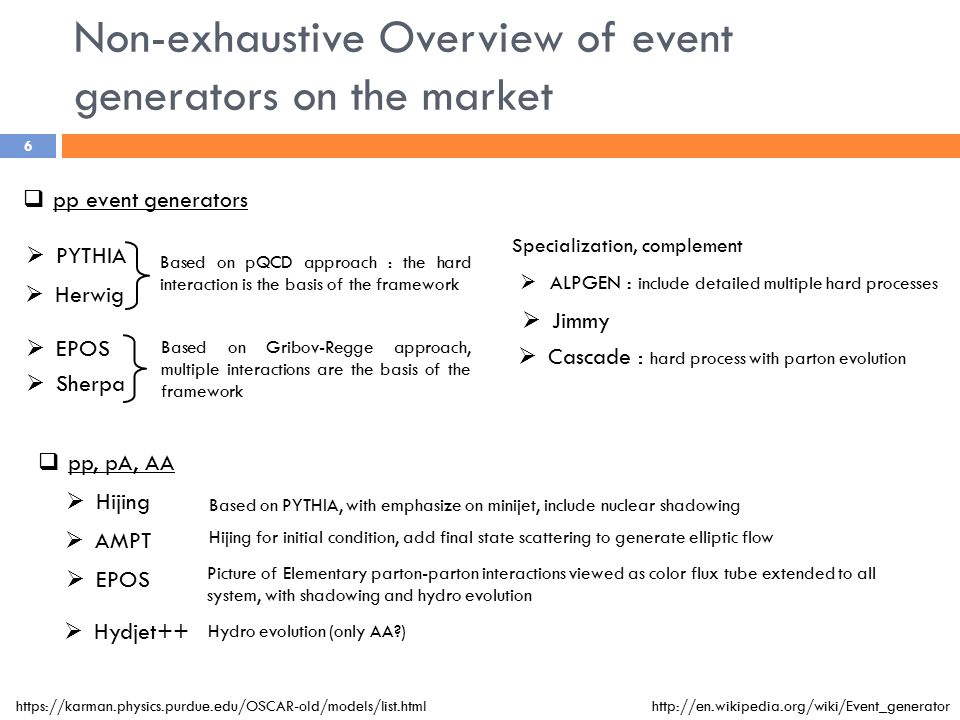 Non-exhaustive Overview of event generators on the market  pp event generators  pp, pA, AA  PYTHIA  Herwig  ALPGEN : include detailed multiple hard processes  Jimmy  Hydjet++  AMPT  Hijing  EPOS  Sherpa Specialization, complement  EPOS Based on pQCD approach : the hard interaction is the basis of the framework Based on Gribov-Regge approach, multiple interactions are the basis of the framework  Cascade : hard process with parton evolution Based on PYTHIA, with emphasize on minijet, include nuclear shadowing Hydro evolution (only AA ) https://karman.physics.purdue.edu/OSCAR-old/models/list.htmlhttp://en.wikipedia.org/wiki/Event_generator Hijing for initial condition, add final state scattering to generate elliptic flow Picture of Elementary parton-parton interactions viewed as color flux tube extended to all system, with shadowing and hydro evolution 6