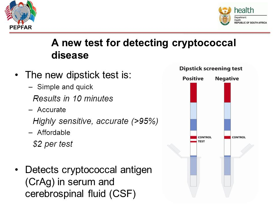 The new dipstick test is: –Simple and quick Results in 10 minutes –Accurate Highly sensitive, accurate (>95%) –Affordable $2 per test Detects cryptococcal antigen (CrAg) in serum and cerebrospinal fluid (CSF) A new test for detecting cryptococcal disease