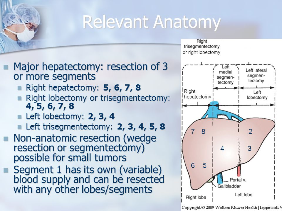Preoperative Considerations Liver function Liver function Synthetic funtion (Tbili, albumin, coags) Synthetic funtion (Tbili, albumin, coags) Transaminases Transaminases If elevated in setting of viral hepatitis, may be marker of poorer regeneration post- hepatectomy If elevated in setting of viral hepatitis, may be marker of poorer regeneration post- hepatectomy Correction of coagulopathy Correction of coagulopathy Vitamin K and/or FFP infrequently required for elective resections Vitamin K and/or FFP infrequently required for elective resections Tumor markers: AFP (HCC), CA-19-9 (cholangio) and CEA (colon CA) Tumor markers: AFP (HCC), CA-19-9 (cholangio) and CEA (colon CA) Assessment for resectability and metastasis (CT/MRI) Assessment for resectability and metastasis (CT/MRI)