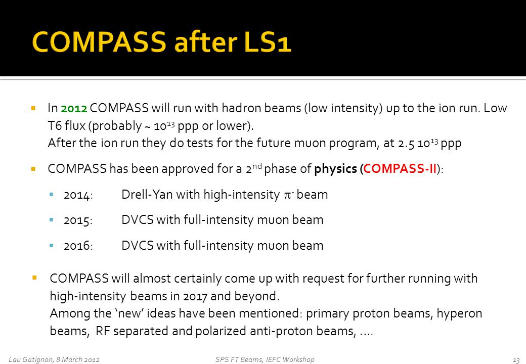  In 2012 COMPASS will run with hadron beams (low intensity) up to the ion run.