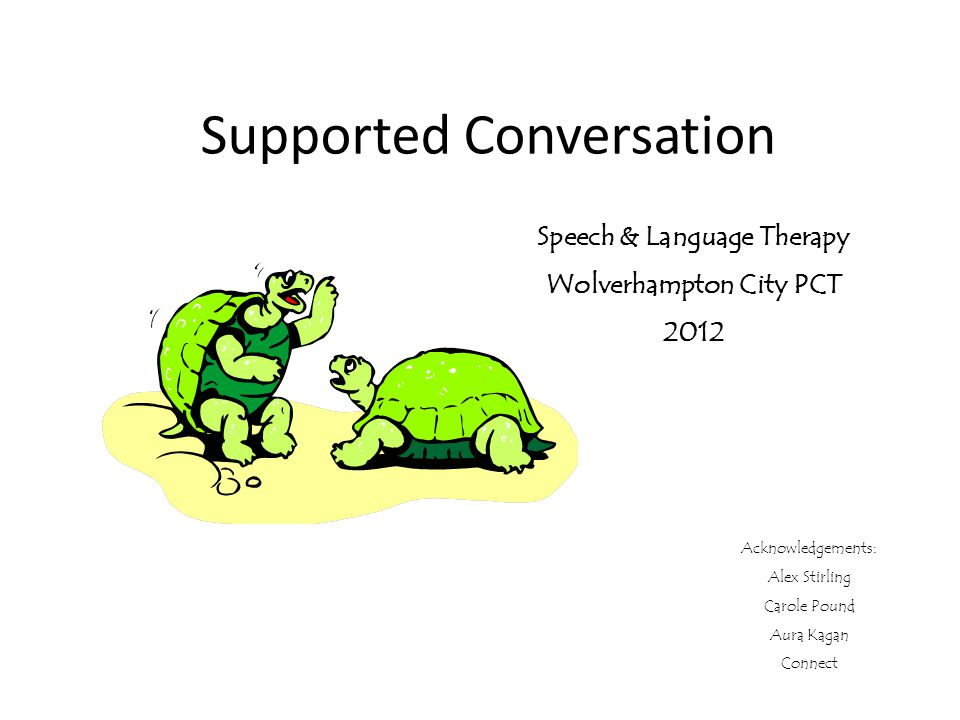 Supported Conversation Speech & Language Therapy Wolverhampton City PCT 2012 Acknowledgements: Alex Stirling Carole Pound Aura Kagan Connect