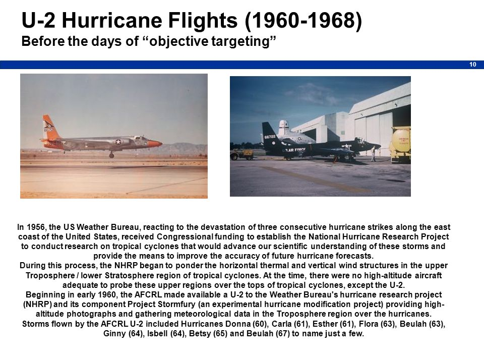 10 In 1956, the US Weather Bureau, reacting to the devastation of three consecutive hurricane strikes along the east coast of the United States, received Congressional funding to establish the National Hurricane Research Project to conduct research on tropical cyclones that would advance our scientific understanding of these storms and provide the means to improve the accuracy of future hurricane forecasts.