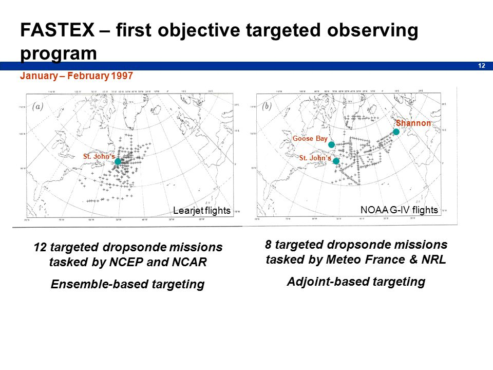 12 FASTEX – first objective targeted observing program January – February 1997 NOAA G-IV flights St.