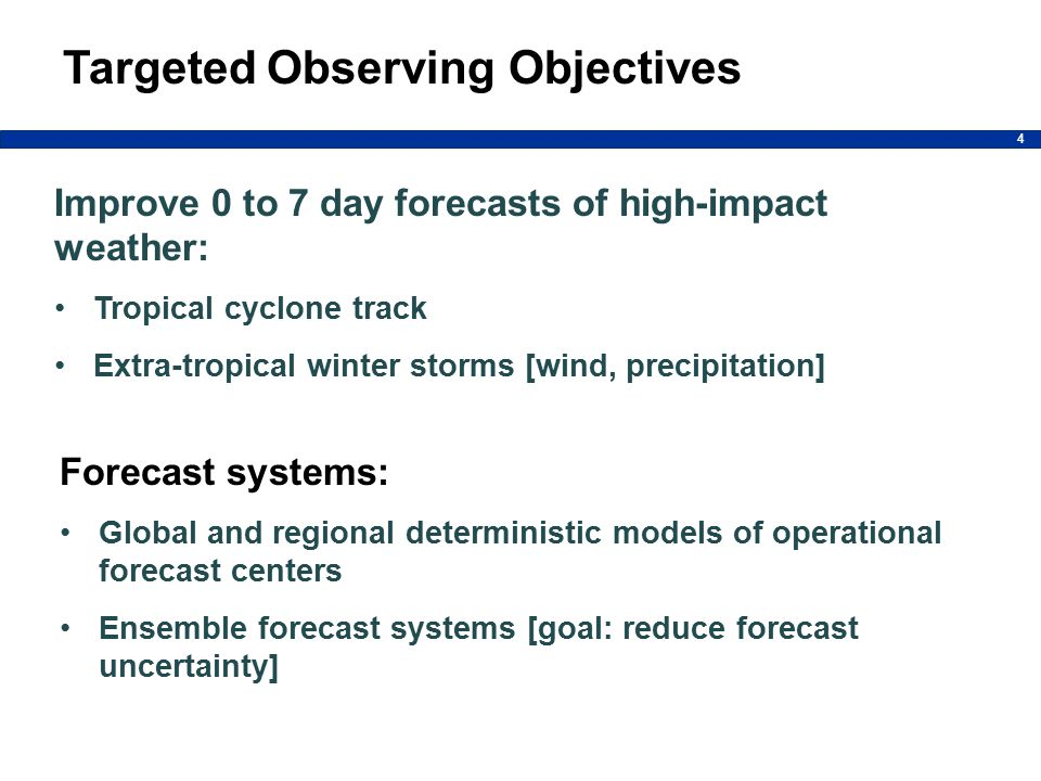 4 Targeted Observing Objectives Improve 0 to 7 day forecasts of high-impact weather: Tropical cyclone track Extra-tropical winter storms [wind, precipitation] Forecast systems: Global and regional deterministic models of operational forecast centers Ensemble forecast systems [goal: reduce forecast uncertainty]