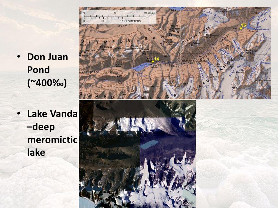 Don Juan Pond (~400‰) Lake Vanda –deep meromictic lake