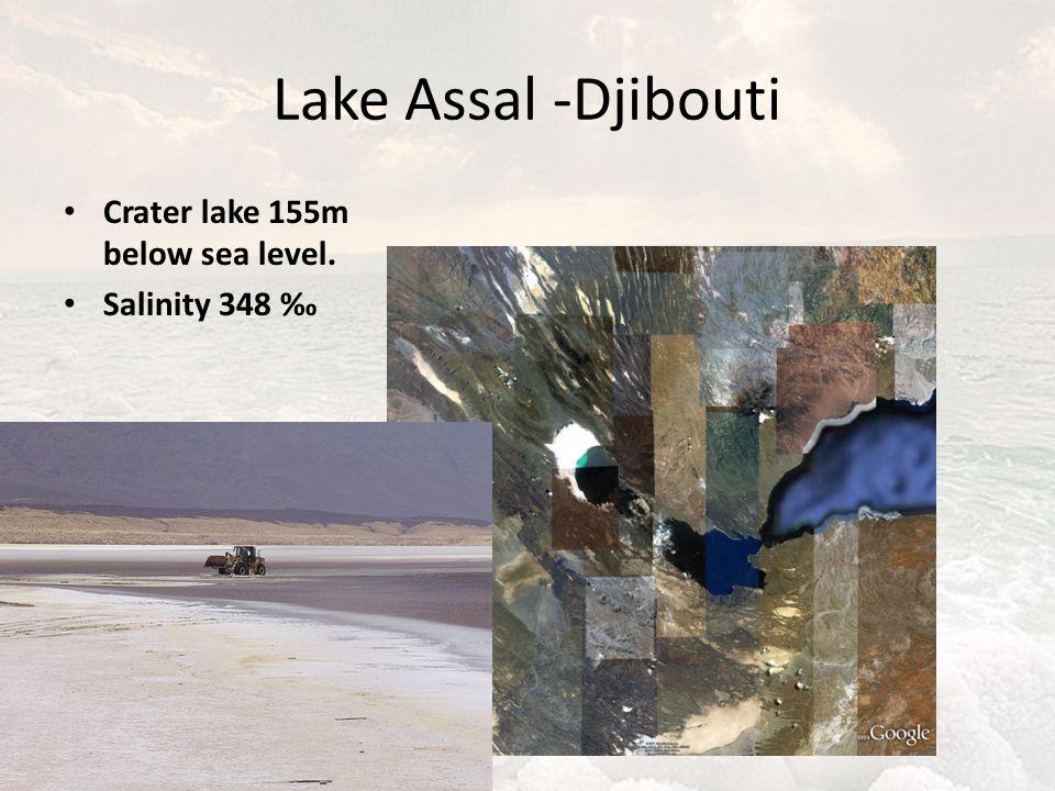 Lake Assal -Djibouti Crater lake 155m below sea level. Salinity 348 ‰