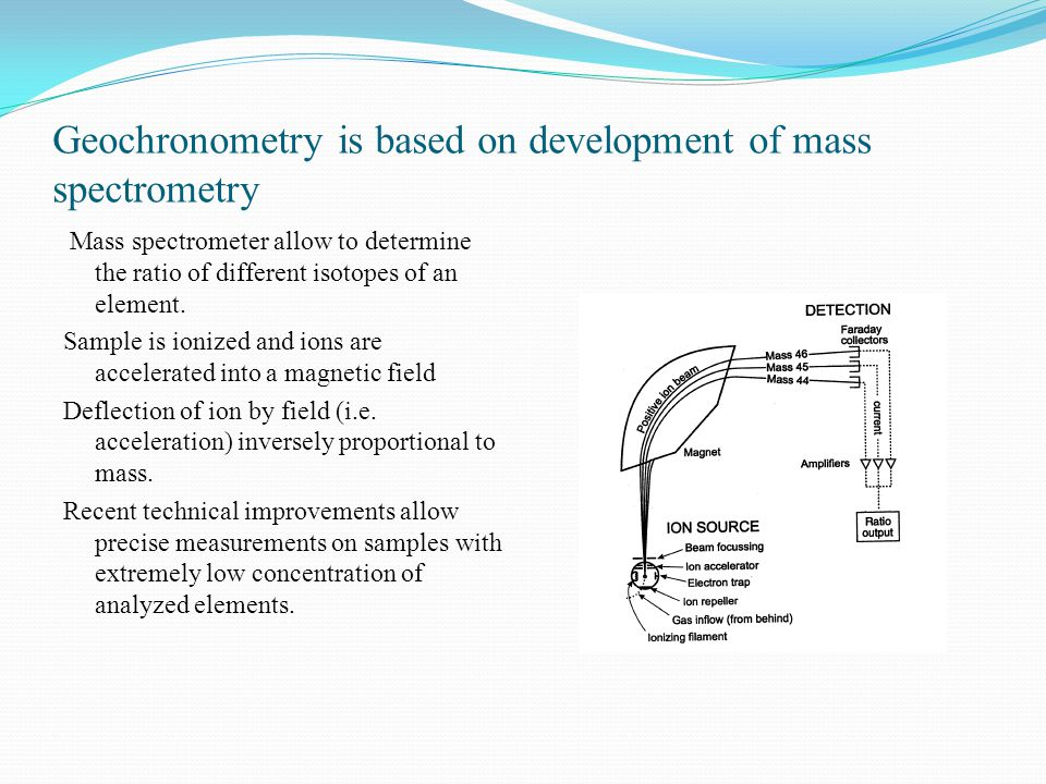 Geochronometry is based on development of mass spectrometry Mass spectrometer allow to determine the ratio of different isotopes of an element.
