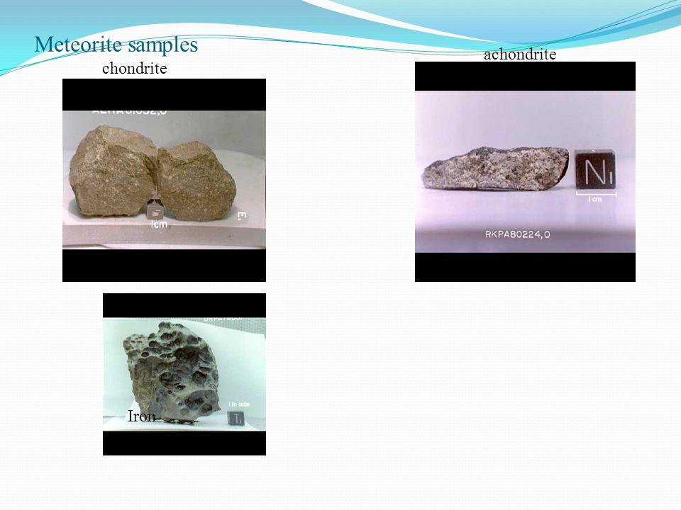 Meteorite samples chondrite achondrite Iron