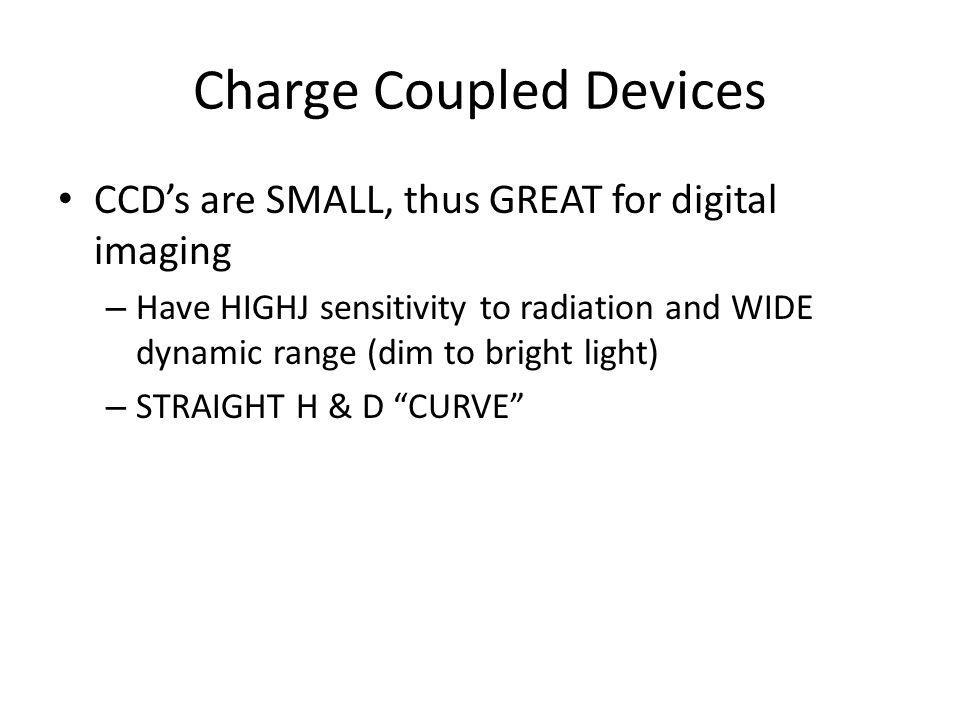 Types of CCD's Cesium Iodide/CCD Cesium Iodide/Amorphus Silicon Amorphous Selenium