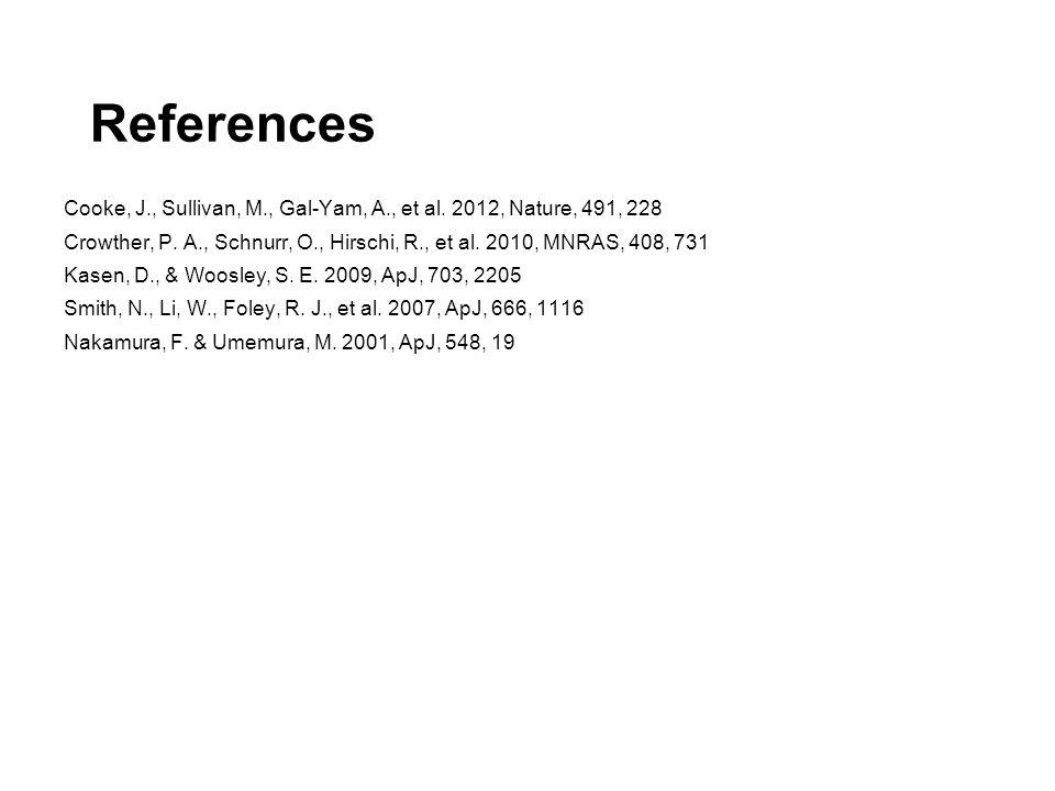 References Cooke, J., Sullivan, M., Gal-Yam, A., et al.