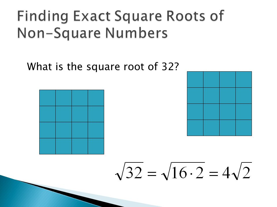What is the square root of 32