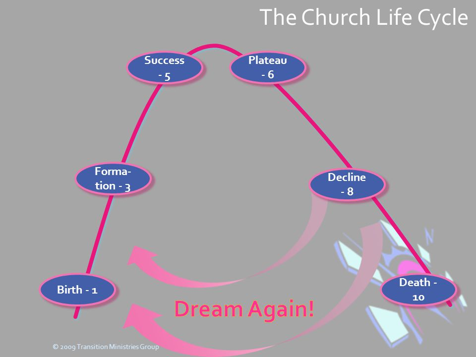 The Church Life Cycle Birth - 1 Forma- tion - 3 Success - 5 Plateau - 6 Decline - 8 Death - 10 © 2009 Transition Ministries Group