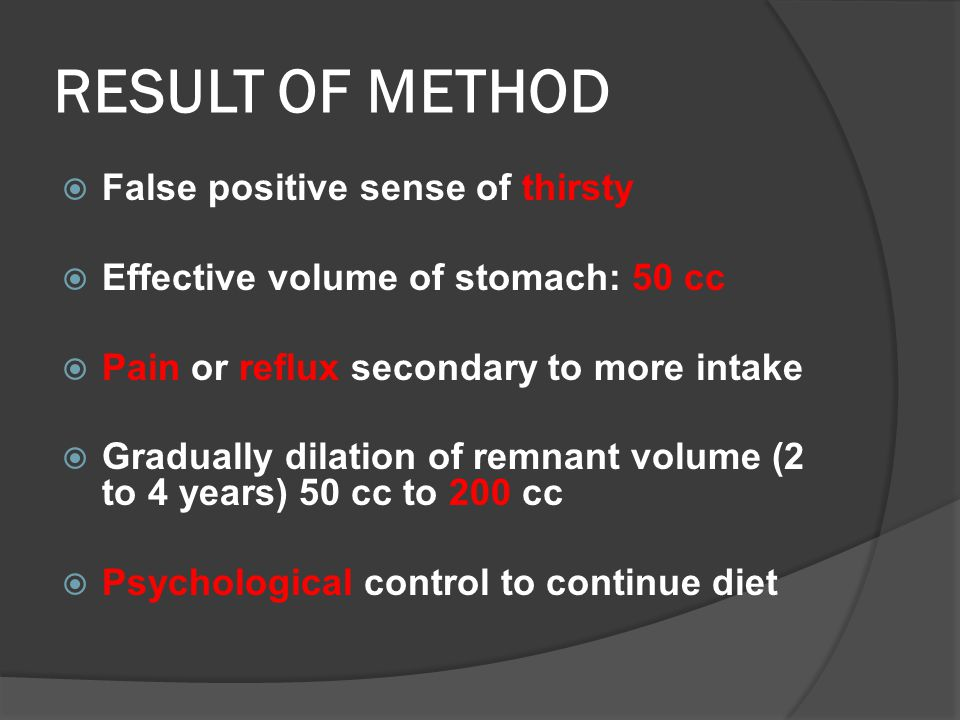 RESULT OF METHOD  False positive sense of thirsty  Effective volume of stomach: 50 cc  Pain or reflux secondary to more intake  Gradually dilation of remnant volume (2 to 4 years) 50 cc to 200 cc  Psychological control to continue diet