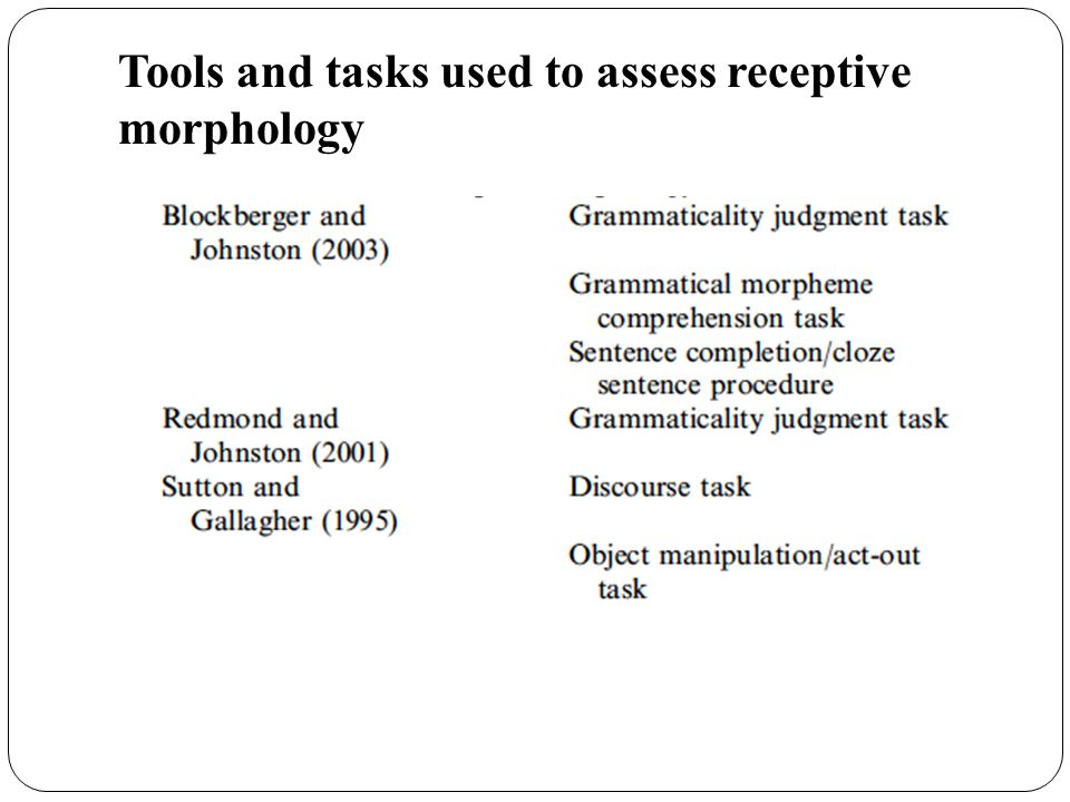 Tools and tasks used to assess receptive morphology
