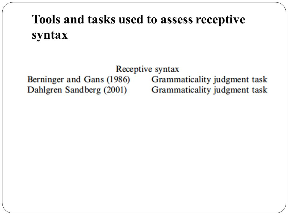 Tools and tasks used to assess receptive syntax