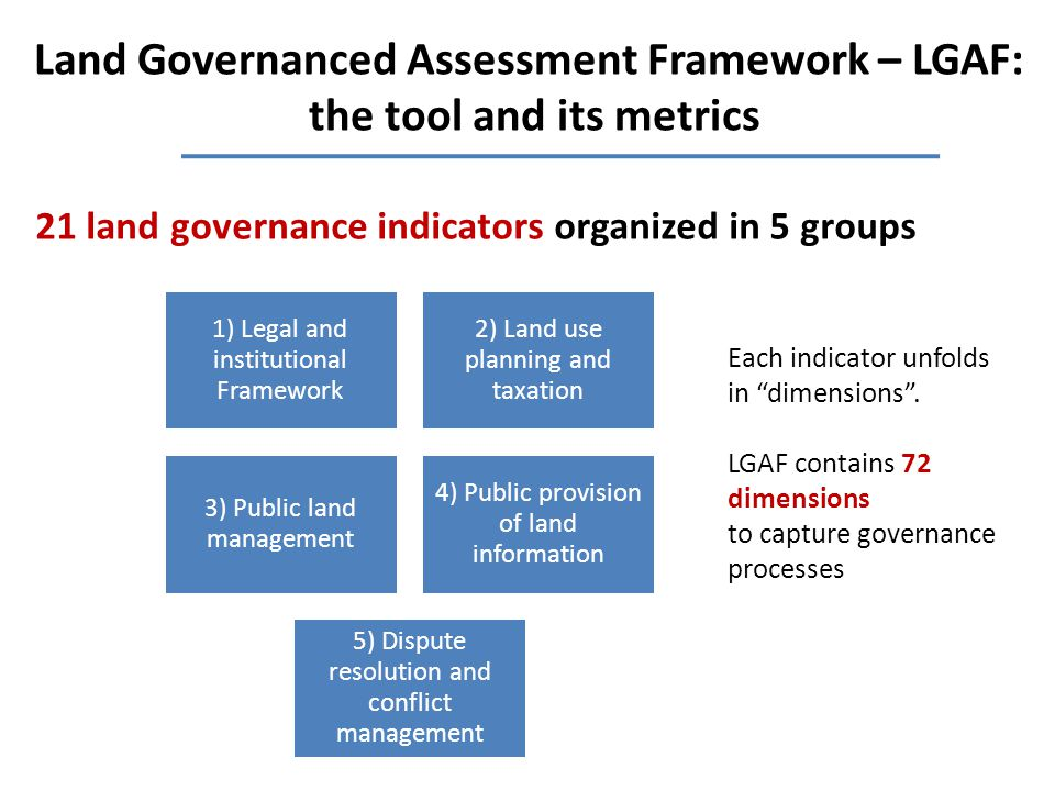 Land Governanced Assessment Framework – LGAF: the tool and its metrics 1) Legal and institutional Framework 2) Land use planning and taxation 3) Public land management 4) Public provision of land information 5) Dispute resolution and conflict management 21 land governance indicators organized in 5 groups Each indicator unfolds in dimensions .