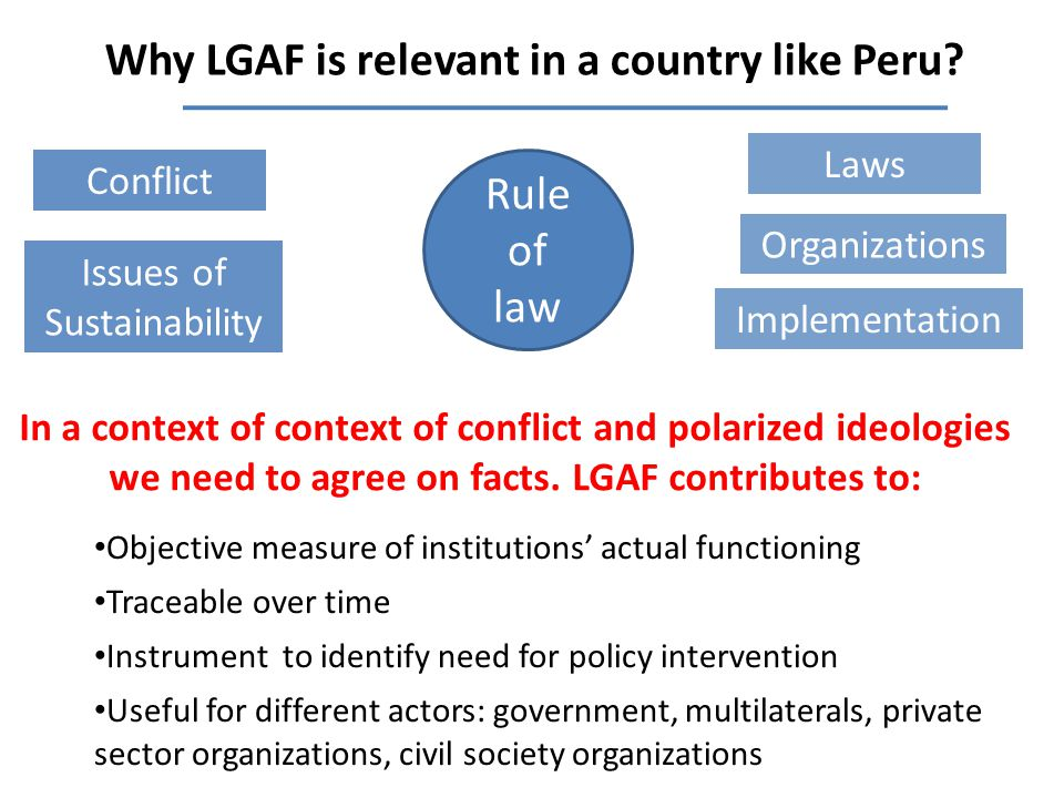 Why LGAF is relevant in a country like Peru.