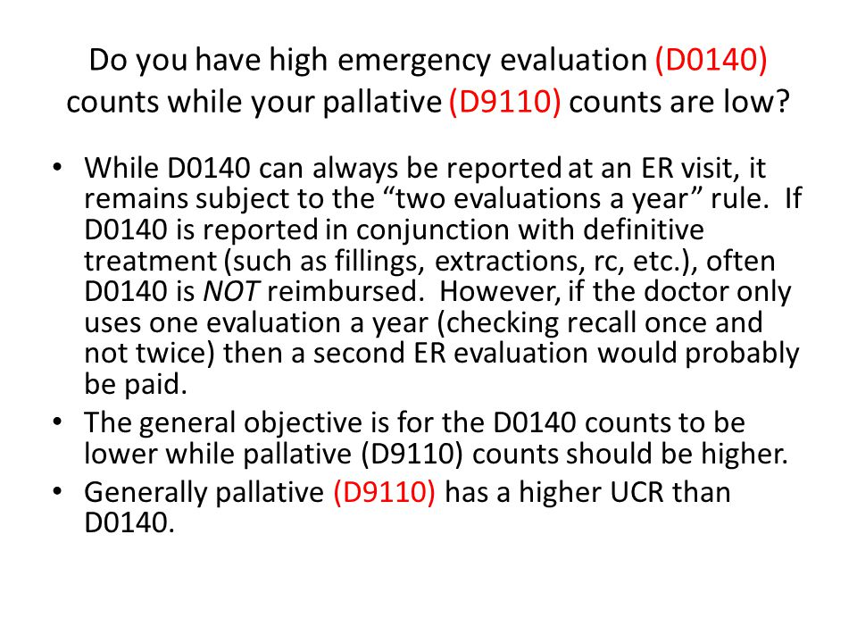 Do you have high emergency evaluation (D0140) counts while your pallative (D9110) counts are low? While D0140 can always be reported at an ER visit, i