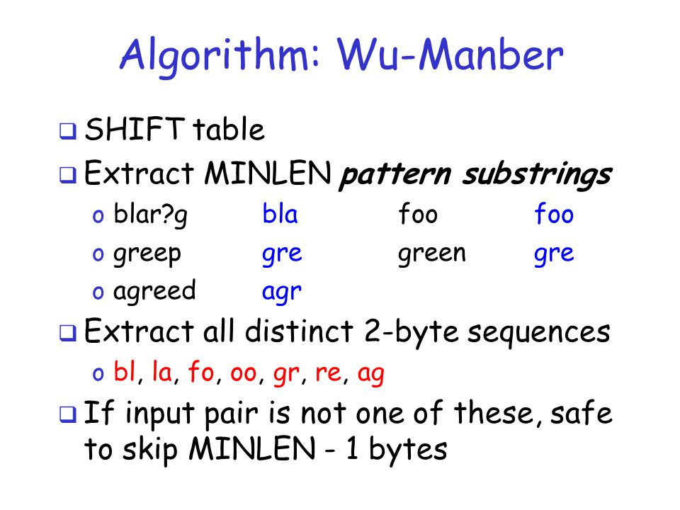 Algorithm: Wu-Manber  SHIFT table  Extract MINLEN pattern substrings o blar gblafoofoo o greepgregreengre o agreedagr  Extract all distinct 2-byte sequences o bl, la, fo, oo, gr, re, ag  If input pair is not one of these, safe to skip MINLEN - 1 bytes