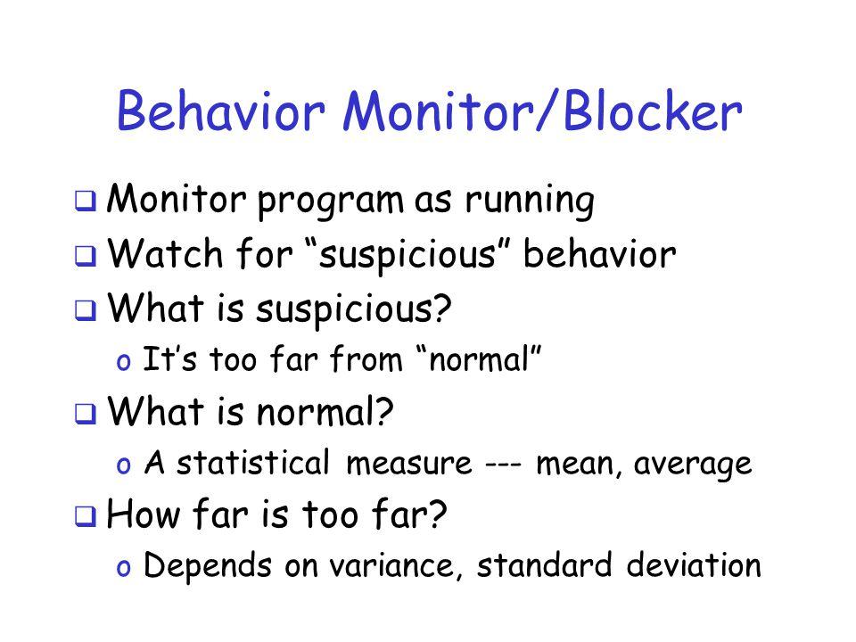 Behavior Monitor/Blocker  Monitor program as running  Watch for suspicious behavior  What is suspicious.