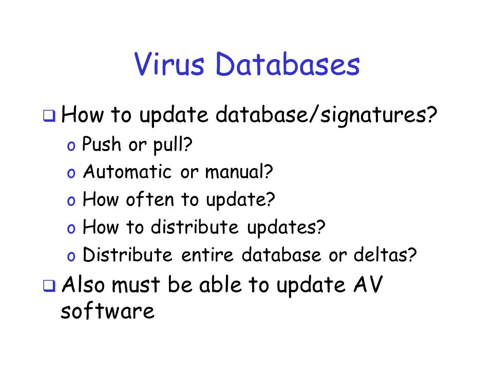 Virus Databases  How to update database/signatures.