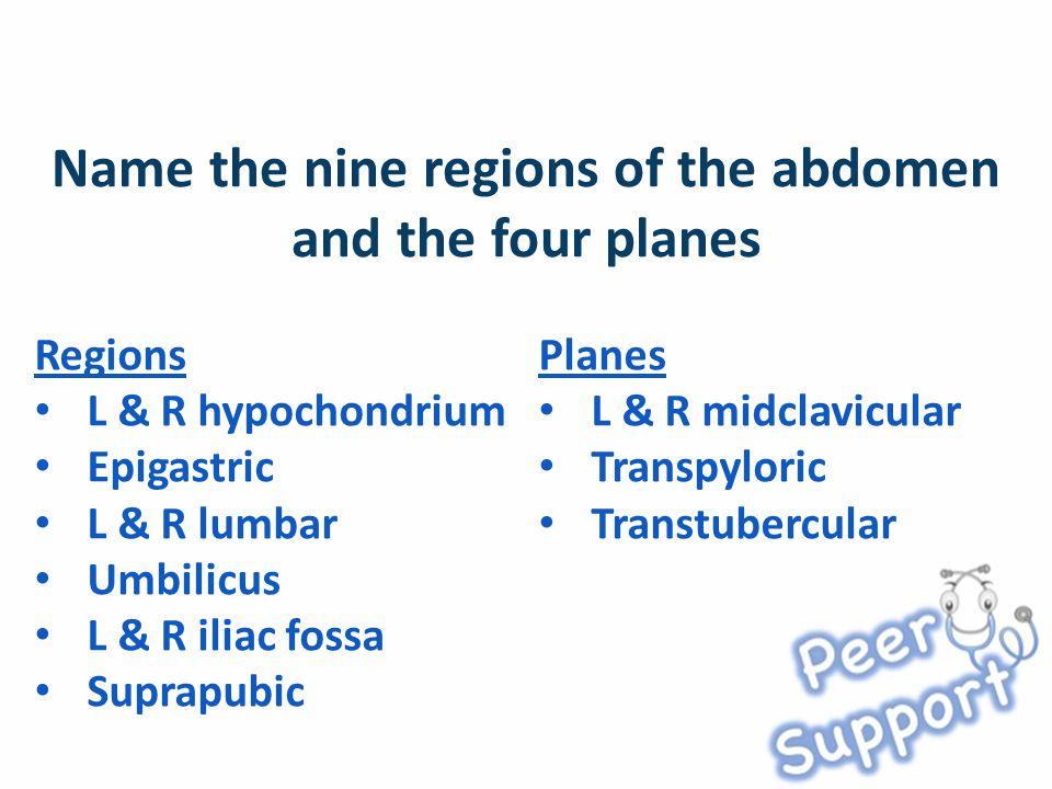 Regions L & R hypochondrium Epigastric L & R lumbar Umbilicus L & R iliac fossa Suprapubic Planes L & R midclavicular Transpyloric Transtubercular
