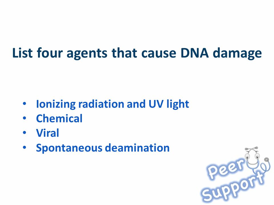 Ionizing radiation and UV light Chemical Viral Spontaneous deamination
