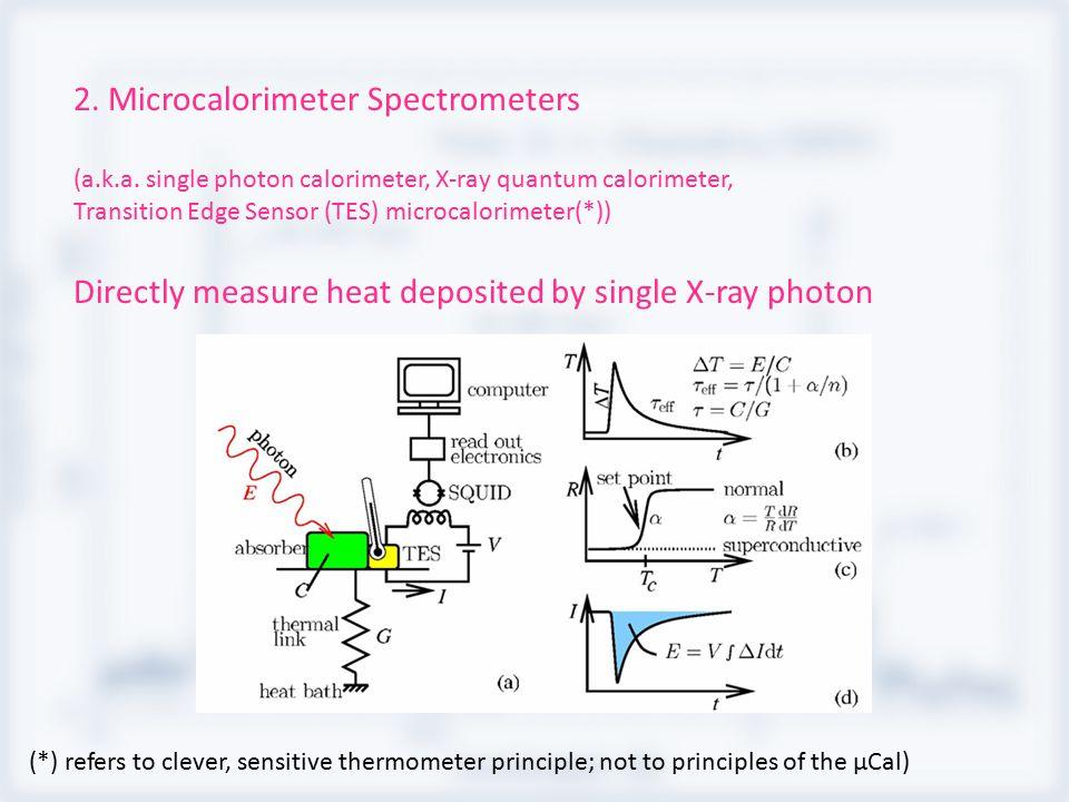2. Microcalorimeter Spectrometers (a.k.a. single photon calorimeter, X-ray quantum calorimeter, Transition Edge Sensor (TES) microcalorimeter(*)) Dire