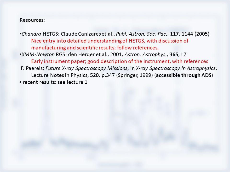 Resources: Chandra HETGS: Claude Canizares et al., Publ.