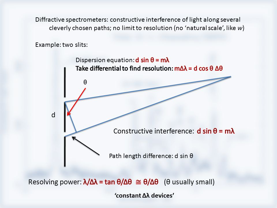 Diffractive spectrometers: constructive interference of light along several cleverly chosen paths; no limit to resolution (no 'natural scale', like w)