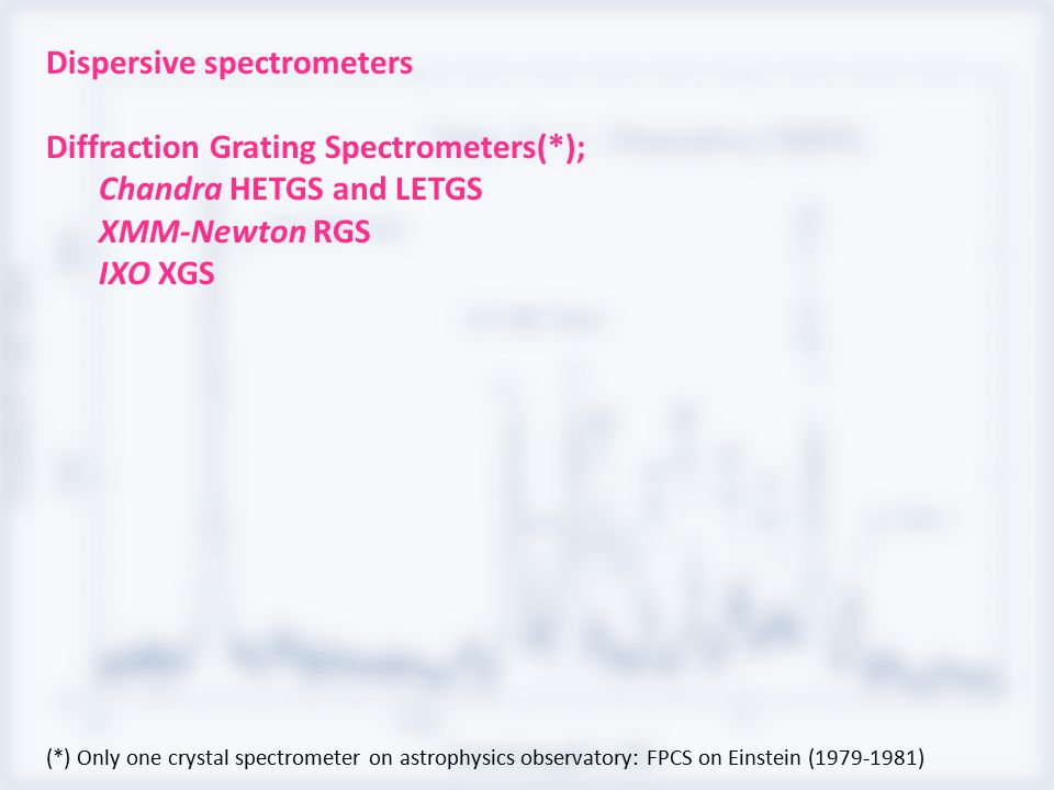 Dispersive spectrometers Diffraction Grating Spectrometers(*); Chandra HETGS and LETGS XMM-Newton RGS IXO XGS (*) Only one crystal spectrometer on ast