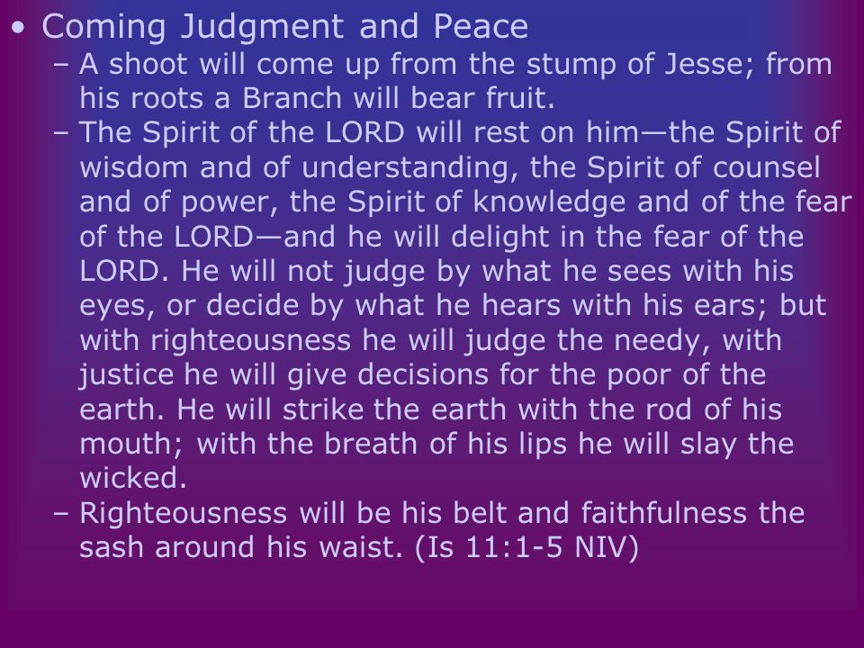 The Message of Isaiah Coming Judgment and Peace –A shoot will come up from the stump of Jesse; from his roots a Branch will bear fruit.