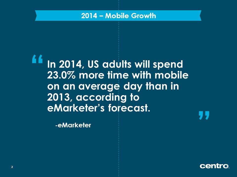 In 2014, US adults will spend 23.0% more time with mobile on an average day than in 2013, according to eMarketer's forecast.