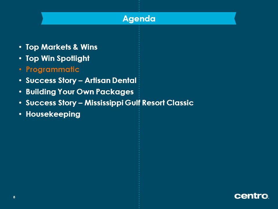 Agenda 8 Top Markets & Wins Top Win Spotlight Programmatic Success Story – Artisan Dental Building Your Own Packages Success Story – Mississippi Gulf Resort Classic Housekeeping