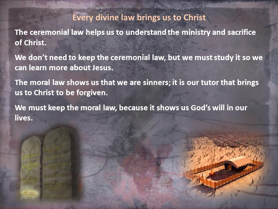Every divine law brings us to Christ The ceremonial law helps us to understand the ministry and sacrifice of Christ.