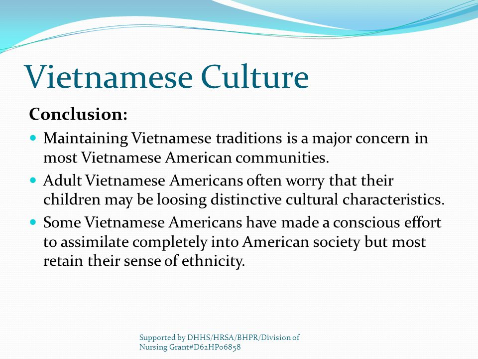 Vietnamese Culture Conclusion: Maintaining Vietnamese traditions is a major concern in most Vietnamese American communities.