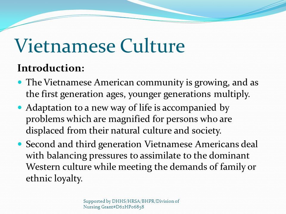 Vietnamese Culture Introduction: The Vietnamese American community is growing, and as the first generation ages, younger generations multiply.