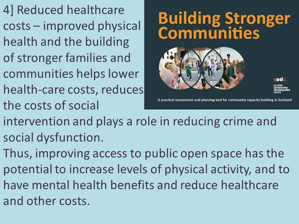 4] Reduced healthcare costs – improved physical health and the building of stronger families and communities helps lower health-care costs, reduces the costs of social intervention and plays a role in reducing crime and social dysfunction.