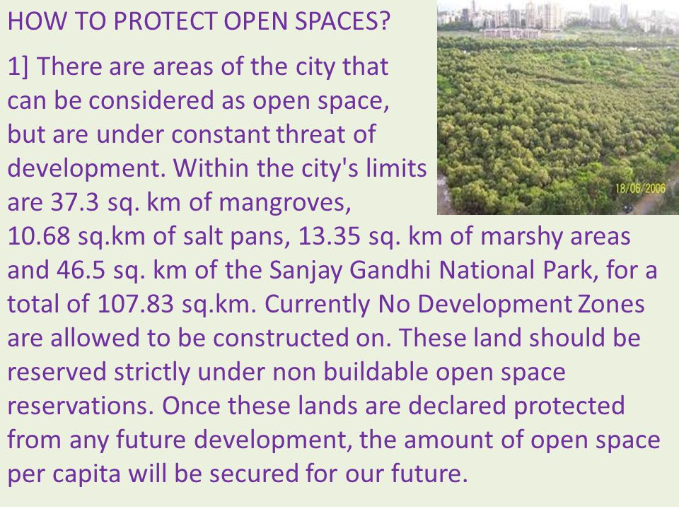 HOW TO PROTECT OPEN SPACES.