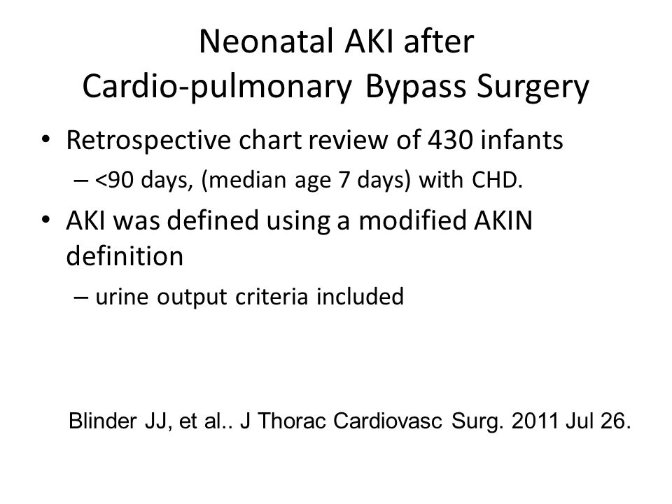 Neonatal AKI after Cardio-pulmonary Bypass Surgery Retrospective chart review of 430 infants – <90 days, (median age 7 days) with CHD.
