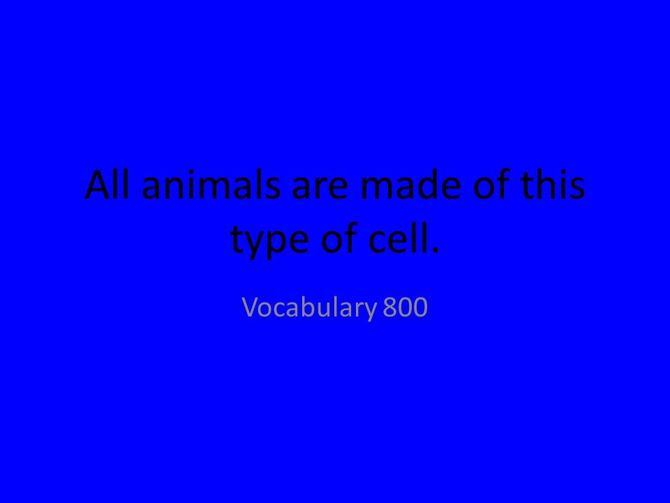 All animals are made of this type of cell. Vocabulary 800