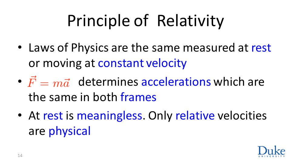 Principle of Relativity Laws of Physics are the same measured at rest or moving at constant velocity determines accelerations which are the same in bo