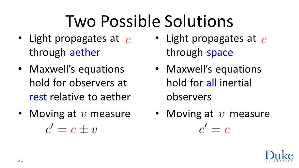 Two Possible Solutions Light propagates at through aether Maxwell's equations hold for observers at rest relative to aether Moving at measure Light propagates at through space Maxwell's equations hold for all inertial observers Moving at measure 21