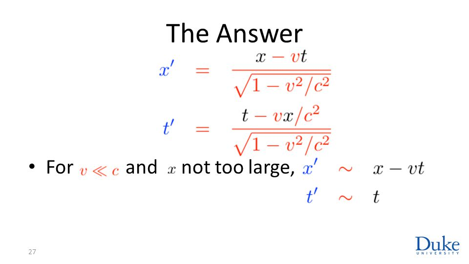 The Answer 27 For and not too large,