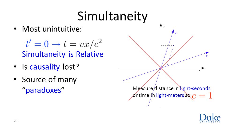 """Simultaneity Most unintuitive: Simultaneity is Relative Is causality lost? Source of many """"paradoxes"""" 29 Measure distance in light-seconds or time in"""